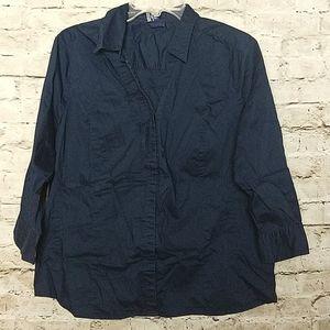 Basic Editions Shirt Size XL Navy Blue